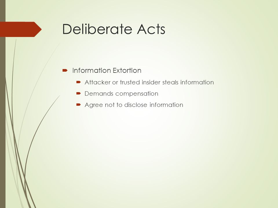 Deliberate Acts Information Extortion