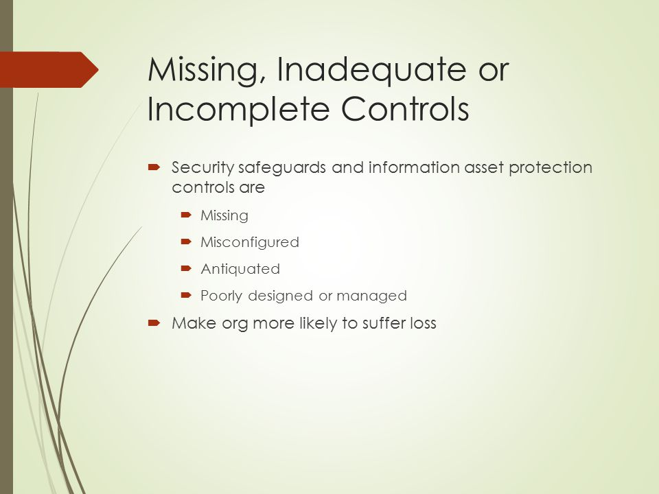 Missing, Inadequate or Incomplete Controls