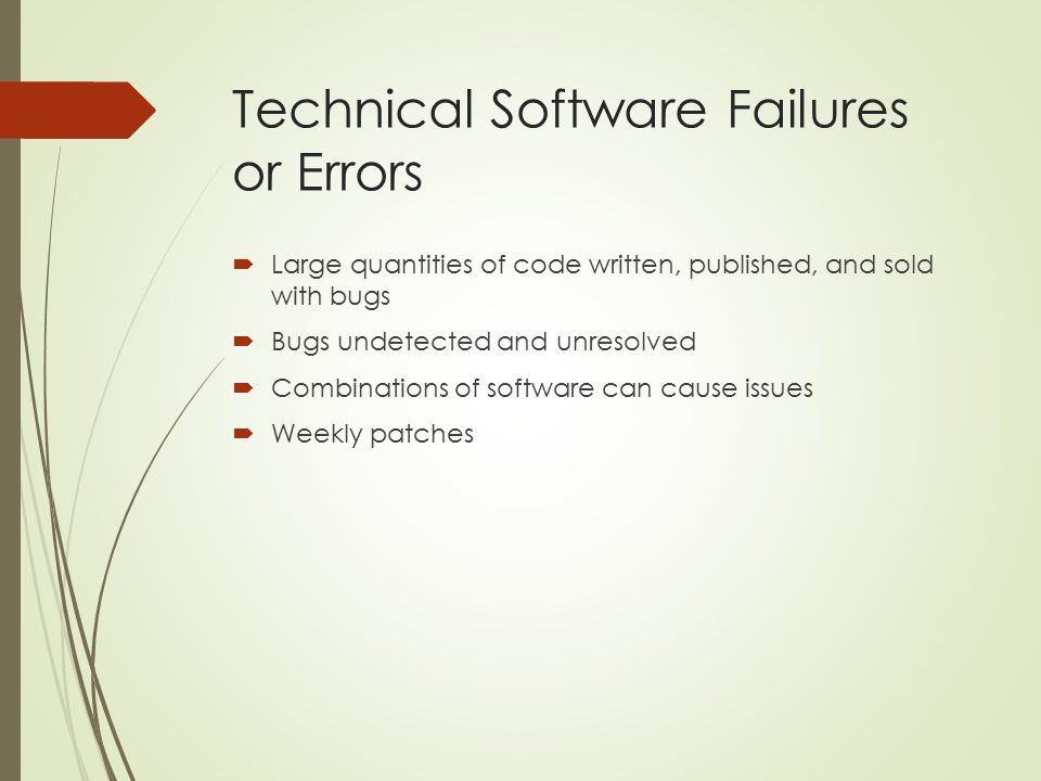 Technical Software Failures or Errors