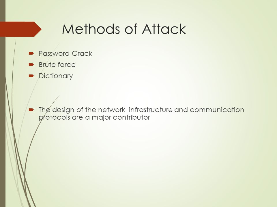 Methods of Attack Password Crack Brute force Dictionary