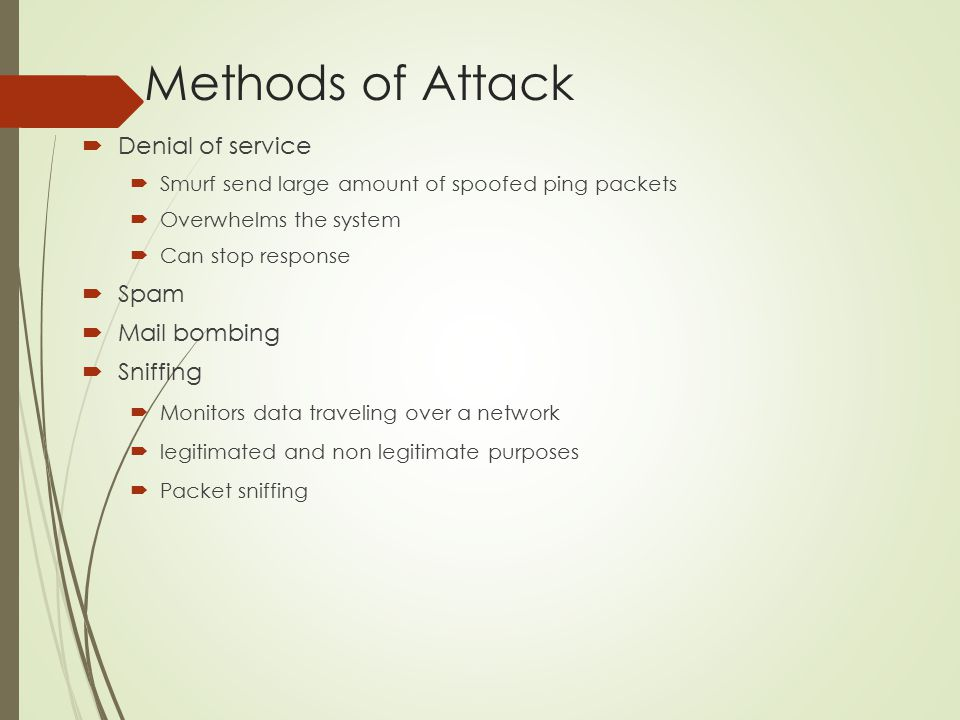 Methods of Attack Denial of service Spam Mail bombing Sniffing