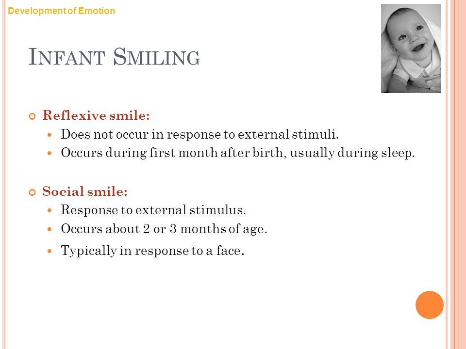Infant Smiling Reflexive smile: