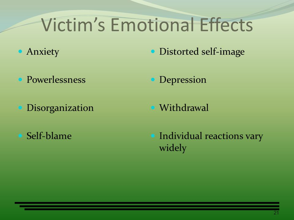 Victim's Emotional Effects