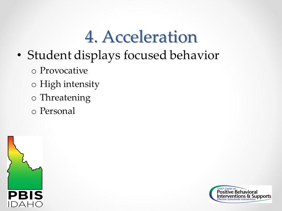 4. Acceleration Student displays focused behavior Provocative