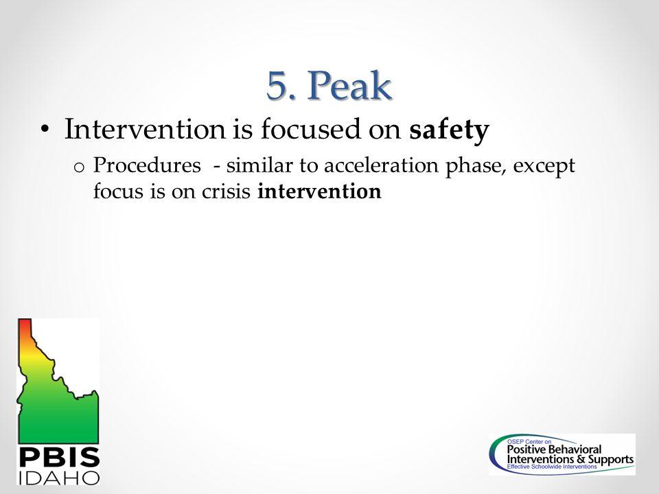 5. Peak Intervention is focused on safety