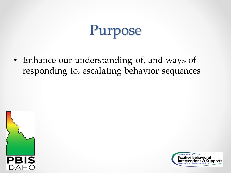 Purpose Enhance our understanding of, and ways of responding to, escalating behavior sequences