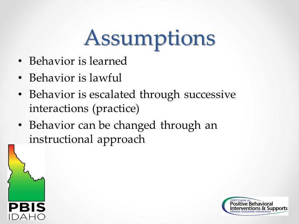 Assumptions Behavior is learned Behavior is lawful