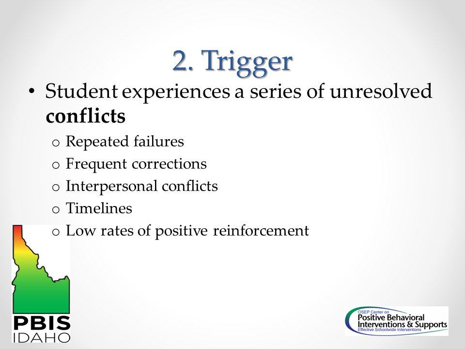 2. Trigger Student experiences a series of unresolved conflicts