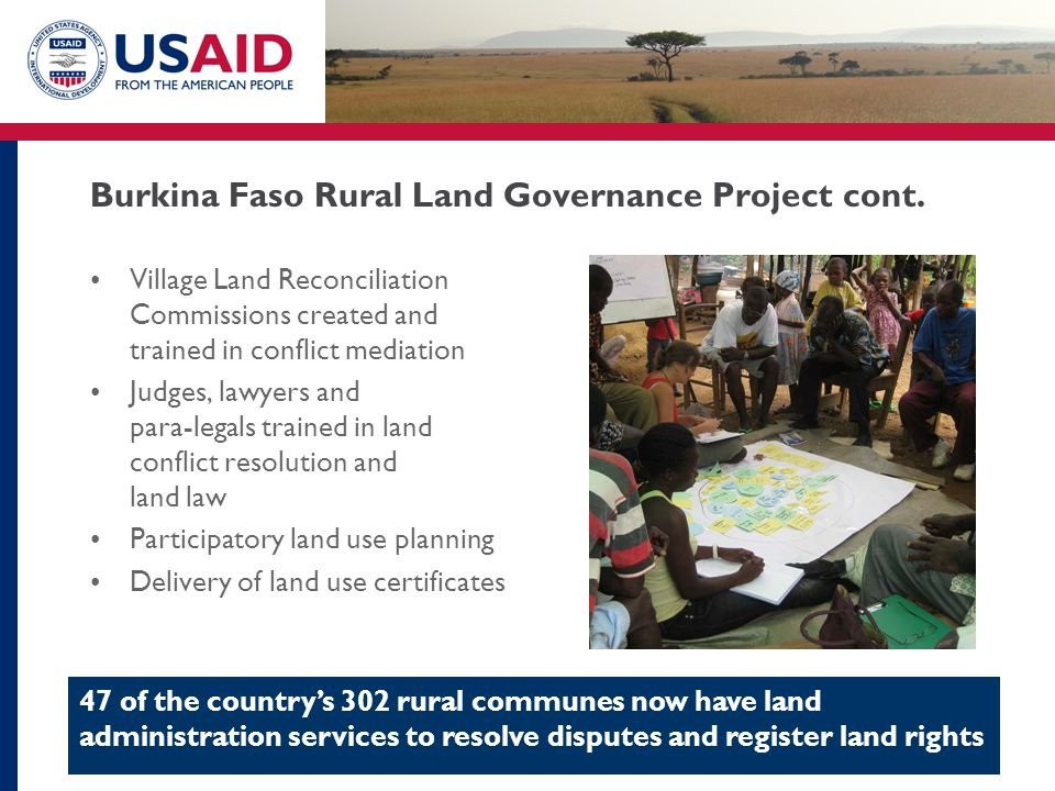 Burkina Faso Rural Land Governance Project cont.
