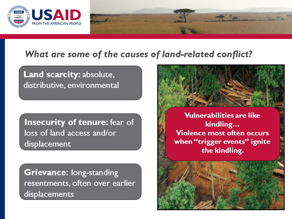 What are some of the causes of land-related conflict