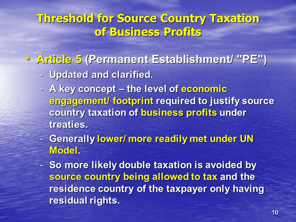 Threshold for Source Country Taxation of Business Profits