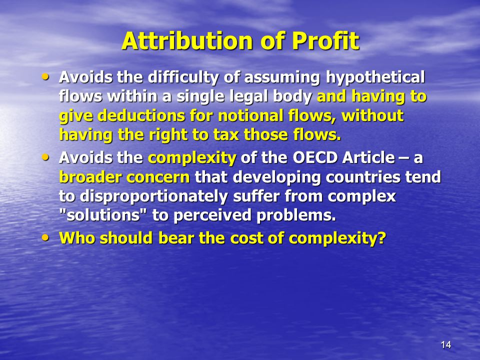 Attribution of Profit