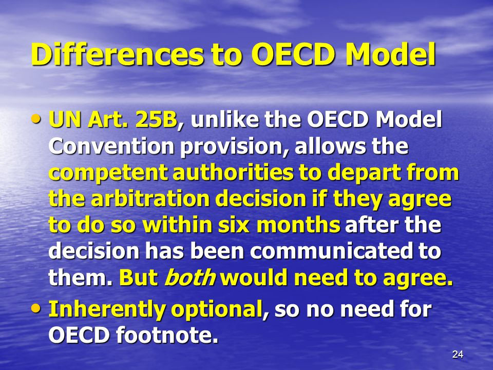 Differences to OECD Model