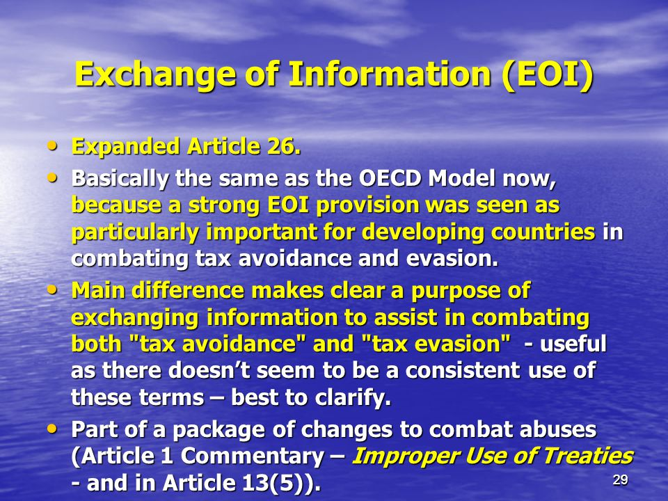 Exchange of Information (EOI)