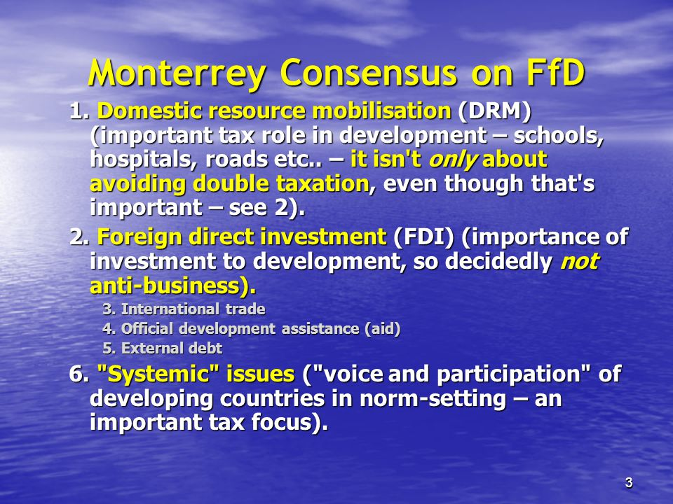 Monterrey Consensus on FfD