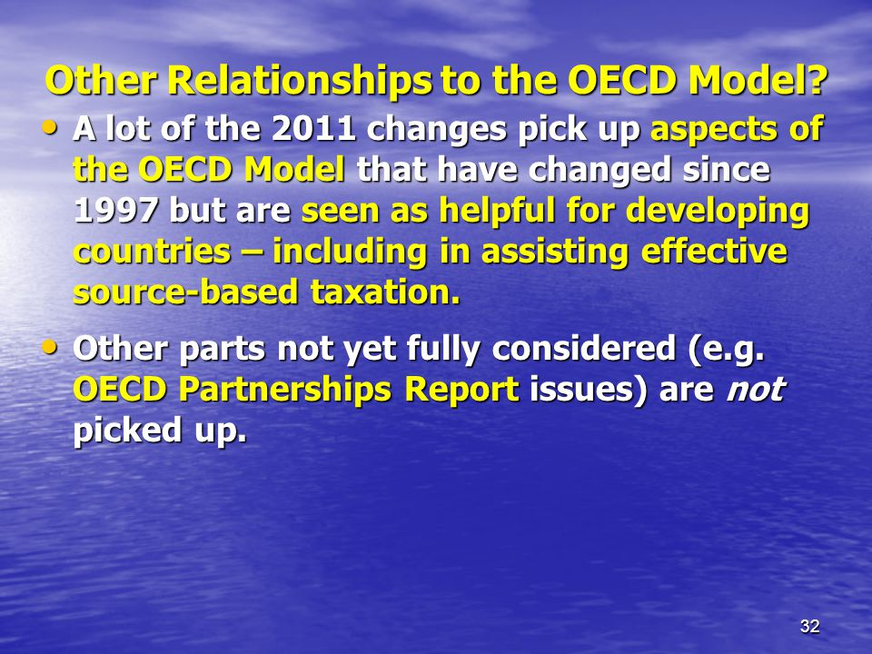 Other Relationships to the OECD Model