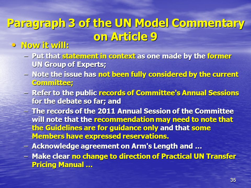 Paragraph 3 of the UN Model Commentary on Article 9