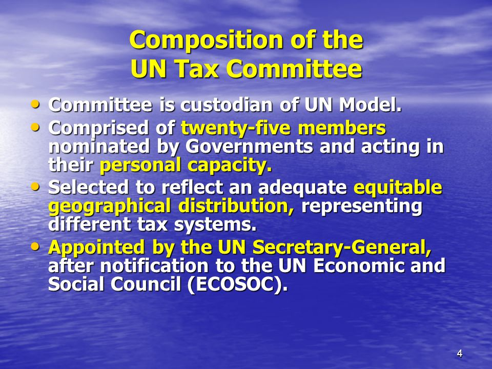 Composition of the UN Tax Committee