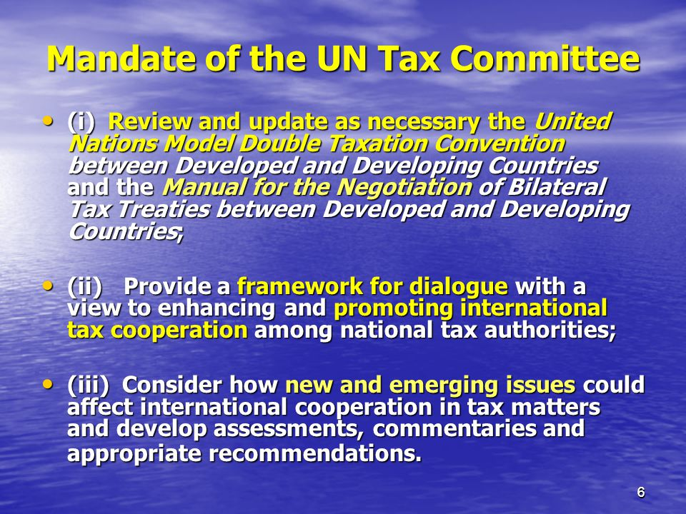 Mandate of the UN Tax Committee