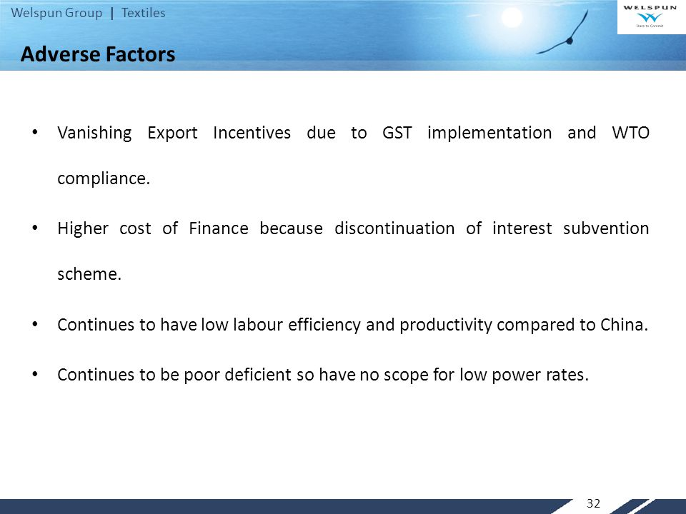 Adverse Factors Vanishing Export Incentives due to GST implementation and WTO compliance.