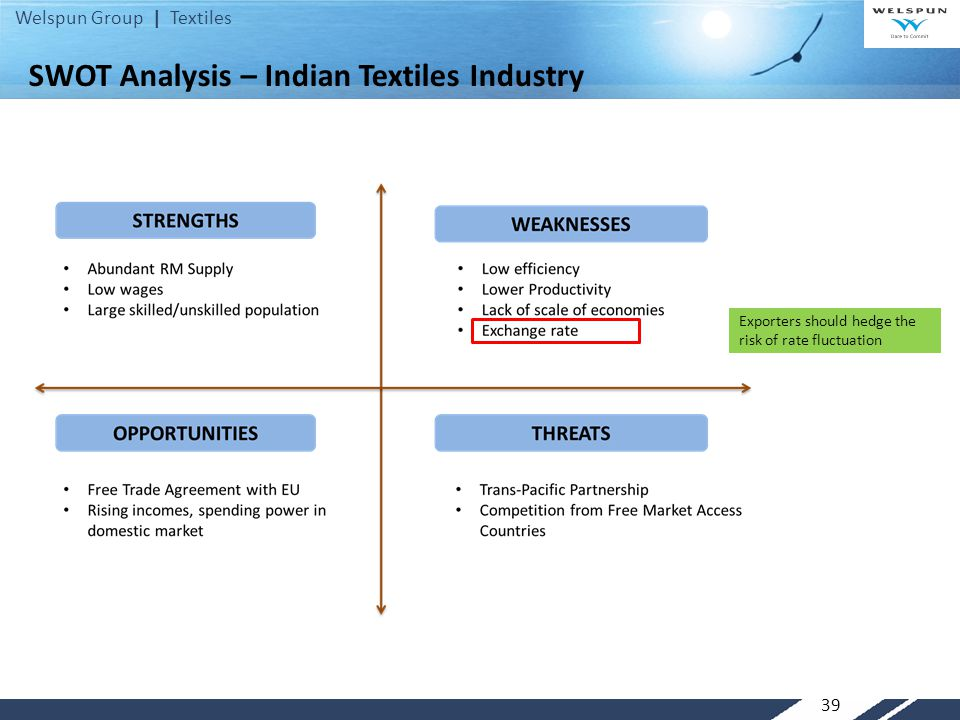 swot analysis of textile industry of eu Swot analysis on the apparel industry tools used in manufacturing of textile machinery t r a c t car industry: swot analysis.