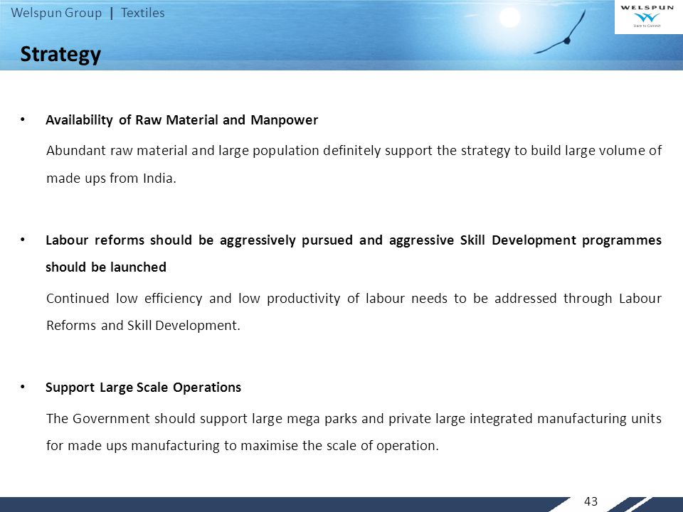 Strategy Availability of Raw Material and Manpower