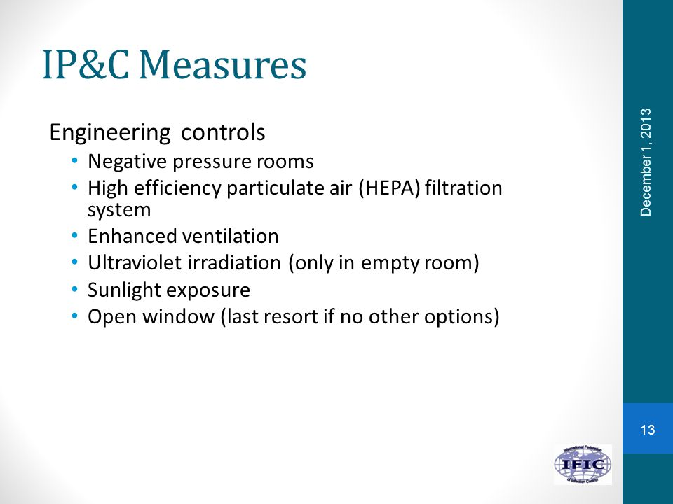 IP&C Measures Engineering controls Negative pressure rooms