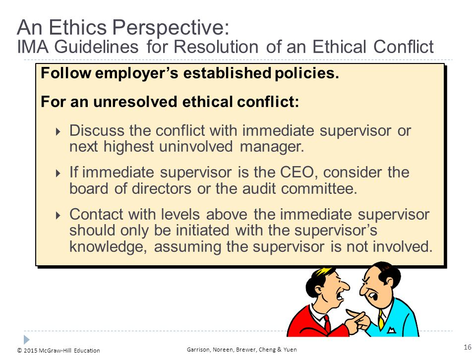 1-17 An Ethics Perspective: IMA Guidelines for Resolution of an Ethical Conflict. Follow employer's established policies.