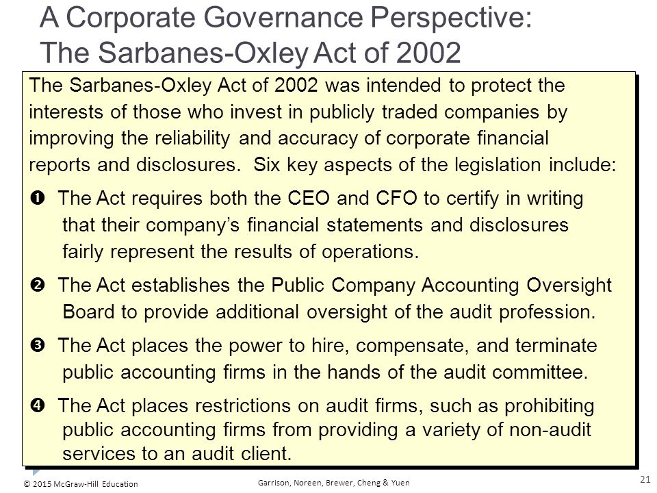 A Corporate Governance Perspective: The Sarbanes-Oxley Act of 2002