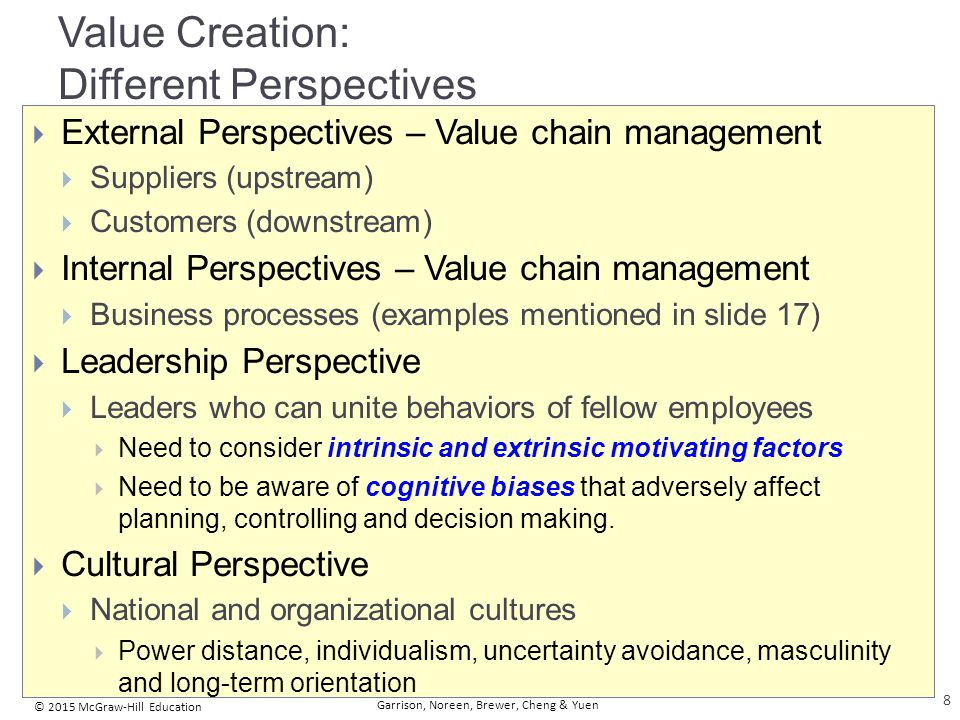 Business functions making up the value chain