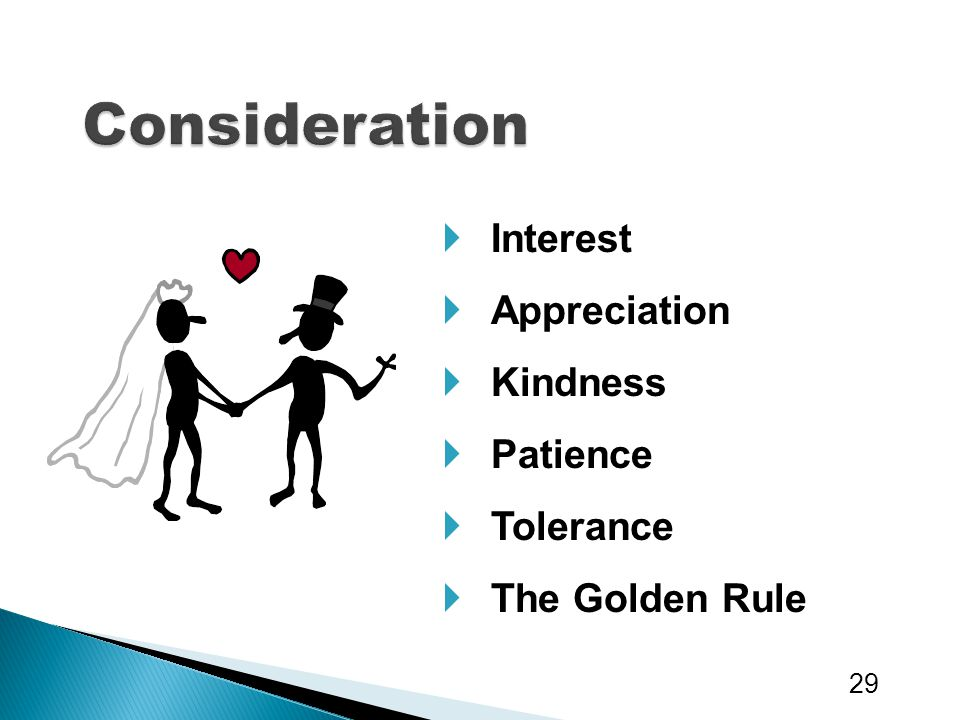 Consideration Interest Appreciation Kindness Patience Tolerance