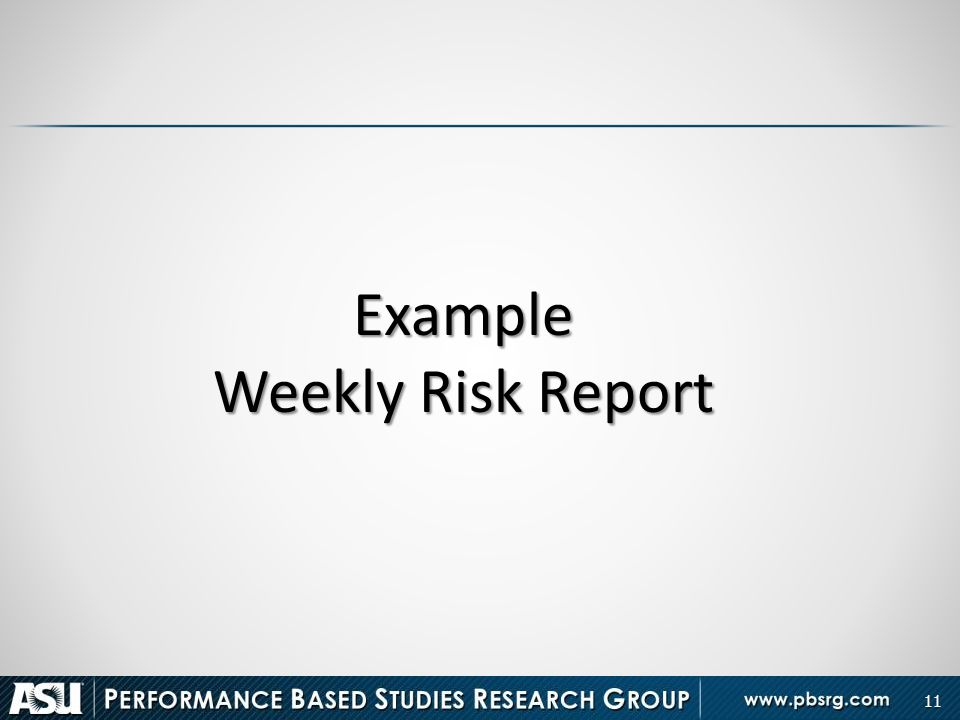 Example Weekly Risk Report
