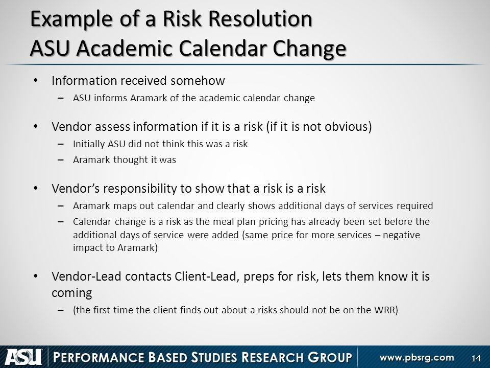 Example of a Risk Resolution ASU Academic Calendar Change
