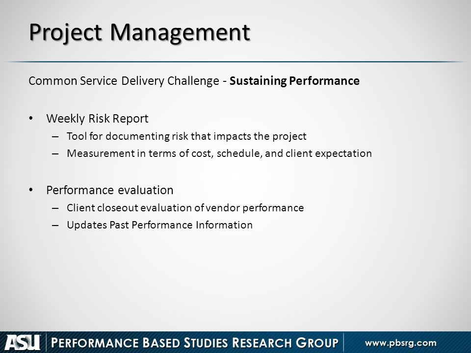 Project Management Common Service Delivery Challenge - Sustaining Performance. Weekly Risk Report.