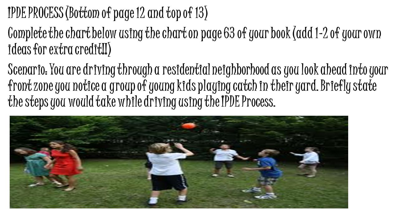 IPDE PROCESS (Bottom of page 12 and top of 13) Complete the chart below using the chart on page 63 of your book (add 1-2 of your own ideas for extra credit!!) Scenario: You are driving through a residential neighborhood as you look ahead into your front zone you notice a group of young kids playing catch in their yard.