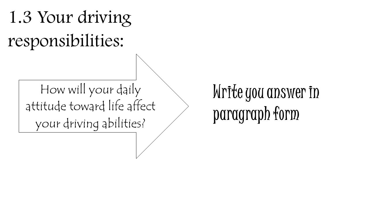 1.3 Your driving responsibilities: