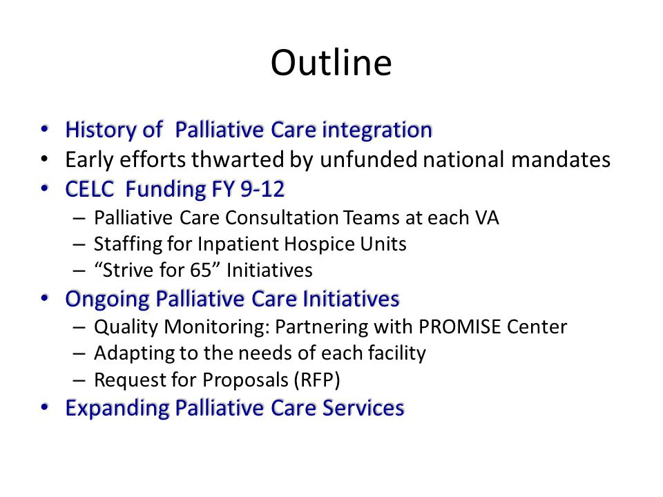 Outline History of Palliative Care integration