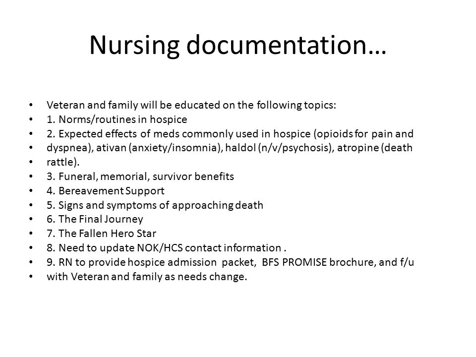 Nursing documentation…