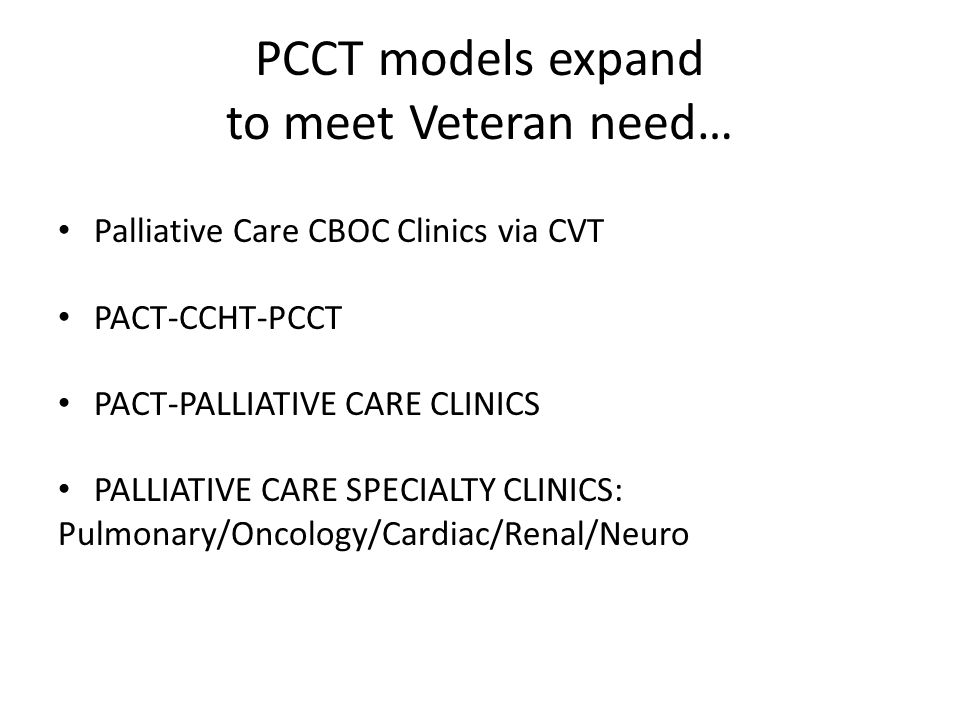 PCCT models expand to meet Veteran need…