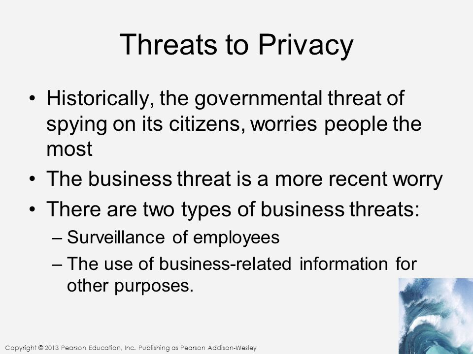 Threats to Privacy Historically, the governmental threat of spying on its citizens, worries people the most.