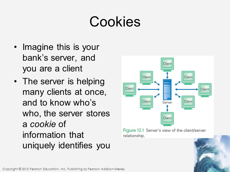 Cookies Imagine this is your bank's server, and you are a client