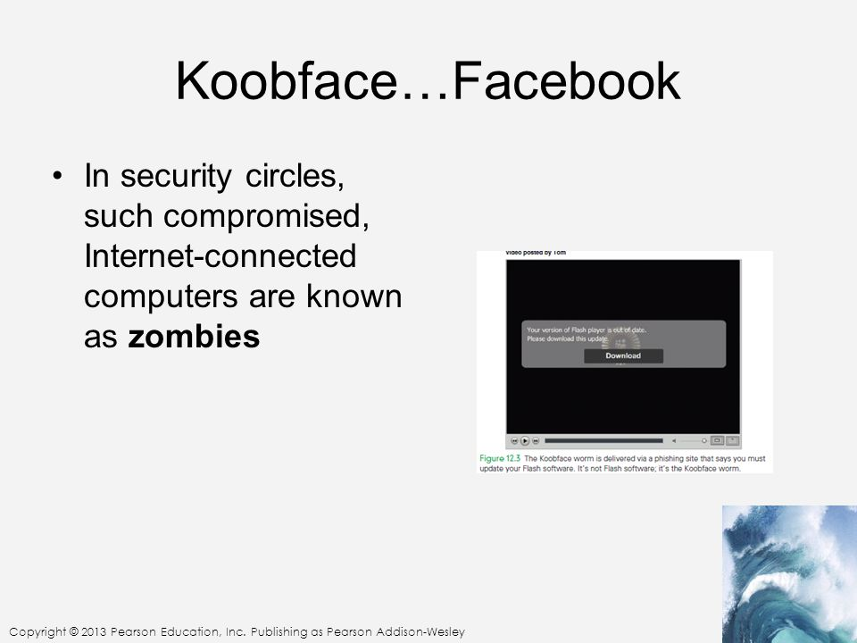 Koobface…Facebook In security circles, such compromised, Internet-connected computers are known as zombies.