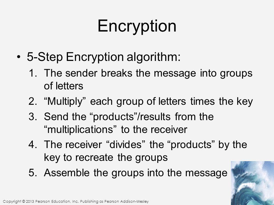 Encryption 5-Step Encryption algorithm: