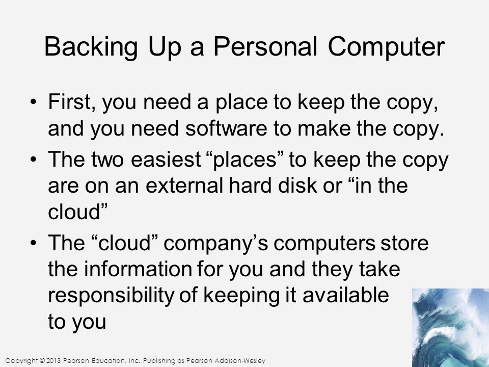 Backing Up a Personal Computer
