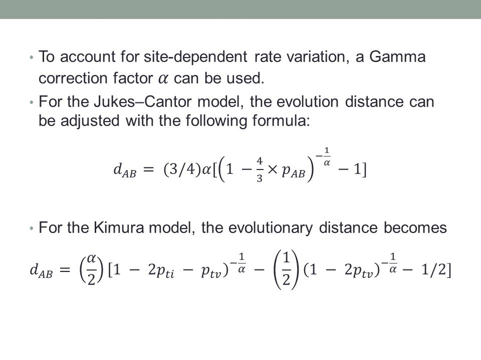 To account for site-dependent rate variation, a Gamma correction factor 𝛼 can be used.