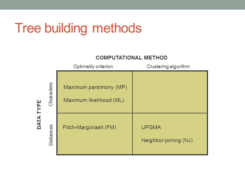 Tree building methods COMPUTATIONAL METHOD DATA TYPE