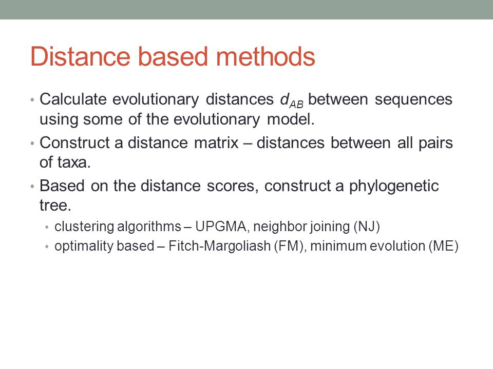 Distance based methods