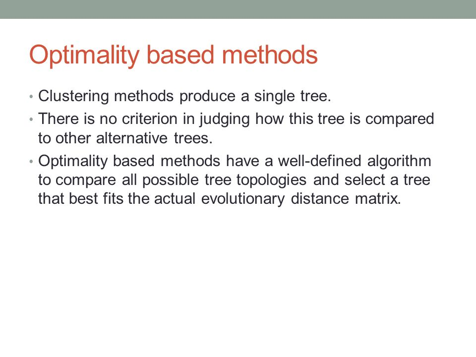 Optimality based methods