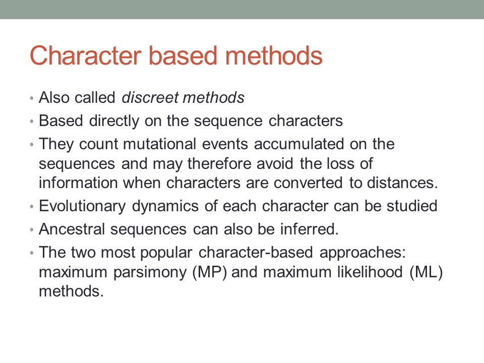 Character based methods