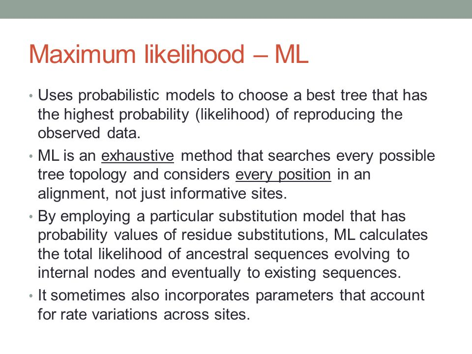 Maximum likelihood – ML